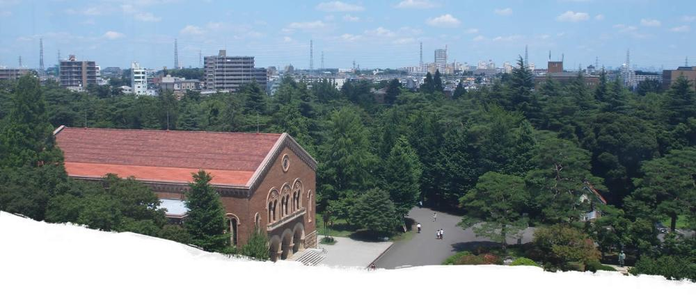 View of building and trees with city in background