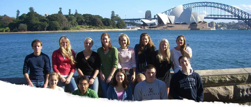 Students in Sydney with Opera House in background